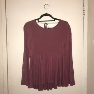 American eagle pink bell sleeve blouse